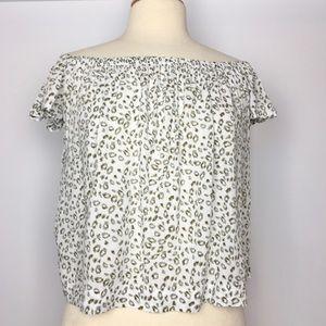 Cloth & Stone off shoulder leopard print top S